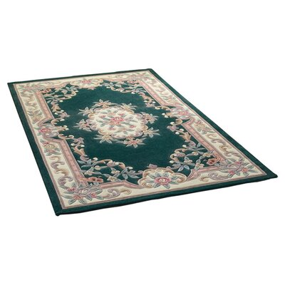 House Additions Valerio Aubusson Hand-Tufted Green Area Rug