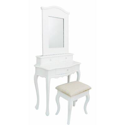 House Additions 3 Drawer Dressing Table Set with Mirror