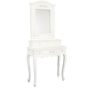 House Additions Vanity 3 Drawer Dressing Table with Mirror