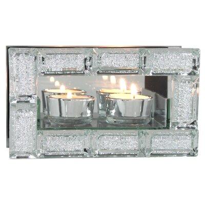 House Additions Double Mirror Tea Light Holder Crystal Block Design