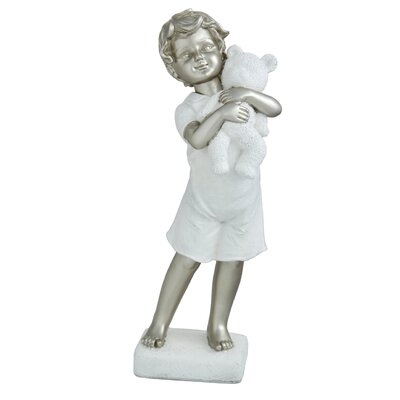 House Additions Little Boy with Bear Figurine