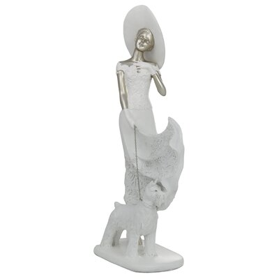 House Additions Lady with Dog Figurine