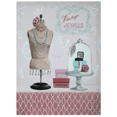 House Additions Vintage Jewels with Glitter Graphic Art on Canvas