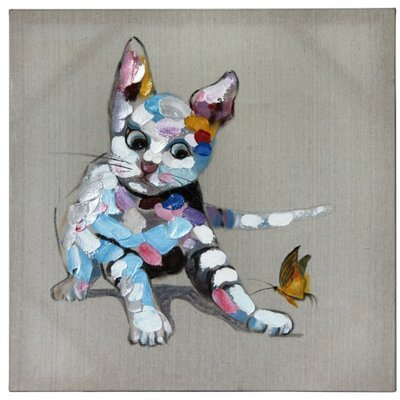 House Additions Cat and Butterfly Art Print on Canvas