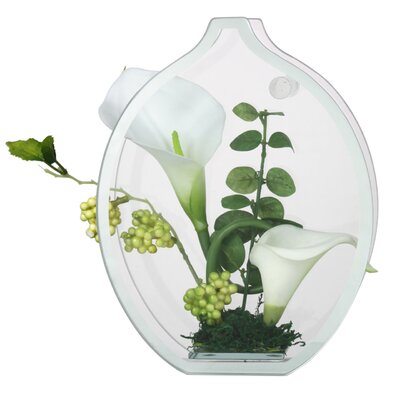 House Additions White Lily in Glass Case