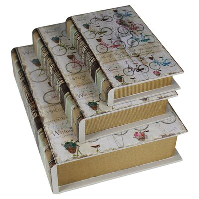 House Additions 3 Piece Bicycle Handmade Book Box Set