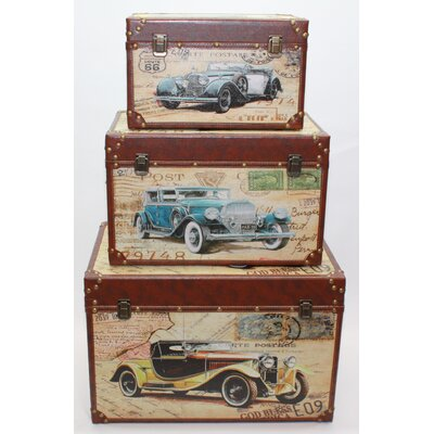 House Additions Manihiki 3 Piece Vintage Car Trunk Set