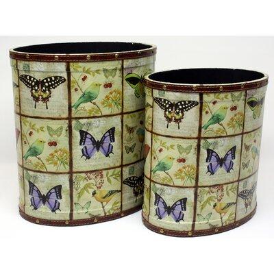 House Additions Manihiki2 Piece Butterfly Oval Waste Bin