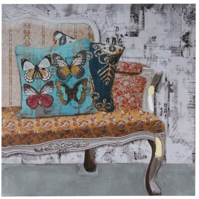 House Additions Sofa and Cushion Graphic Art on Canvas