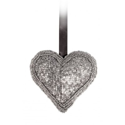 House Additions Beaded Heart Hanging Gunmetal Sculpture