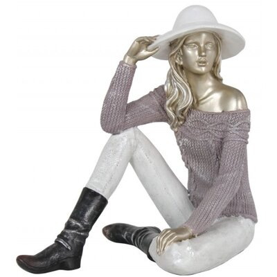 House Additions Sitting Lady with Sweater and Hat Lilac Figurine