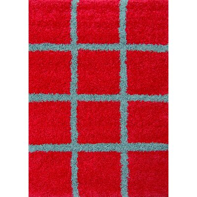 House Additions Bushy Red Area Rug