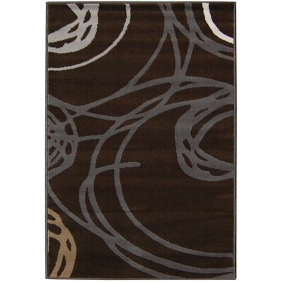 House Additions Brown Circle Area Rug