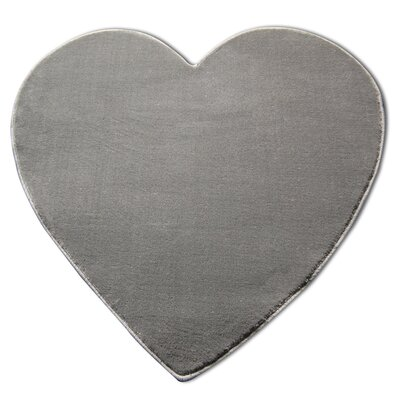 House Additions Heart Grey Area Rug