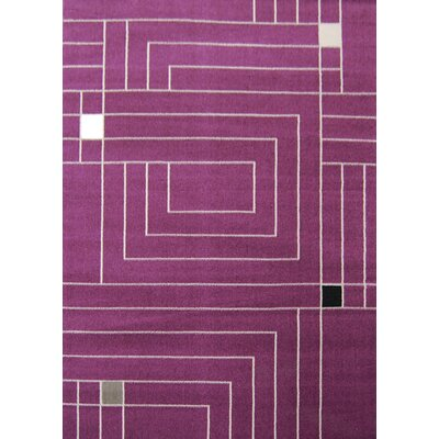 House Additions Purple Boxed Area Rug