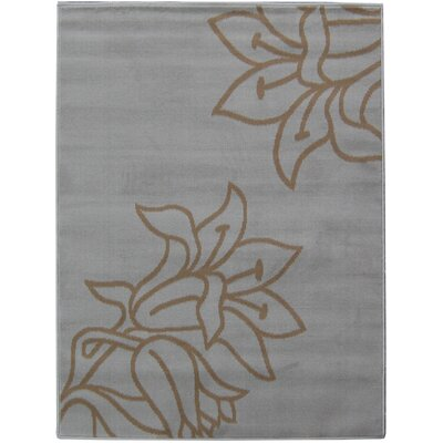 House Additions Grey Flower Area Rug