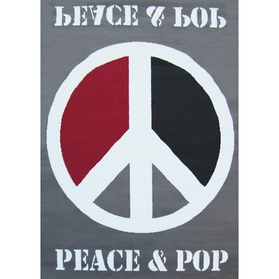 House Additions Grey Peace & Pop Area Rug