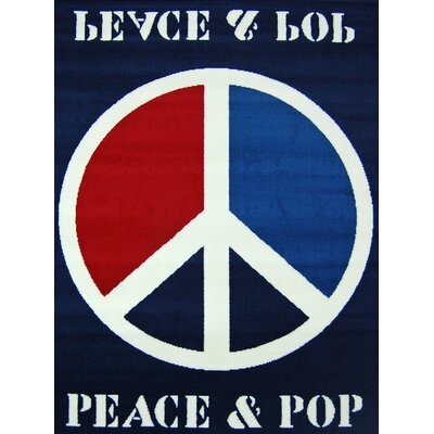 House Additions Blue Peace Sign Area Rug