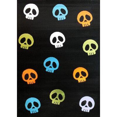 House Additions Cranium Black and Multi-Color Area Rug