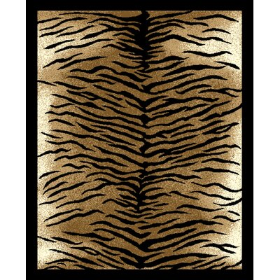 House Additions Beige Tiger Striped Area Rug