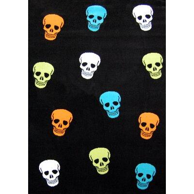 House Additions Cranium Black and Multi-Color Skull Area Rug
