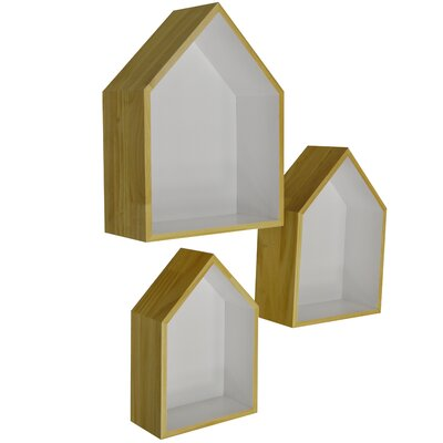 """House Additions 3 Piece """"House"""" Wall Display Shelves Set"""