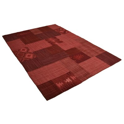 House Additions Lavalpatch Handmade Red Area Rug