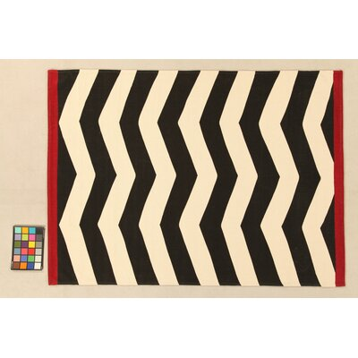 House Additions Troyes Hand-Woven Black/White Area Rug