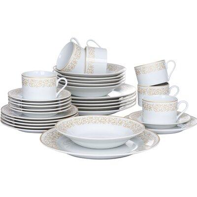 House Additions Porcelain Leaf 30 Piece Dinnerware Set