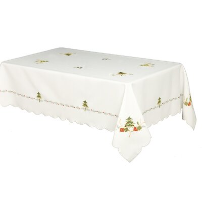 House Additions Green Tree and Gift Embroidered Rectangular Tablecloth