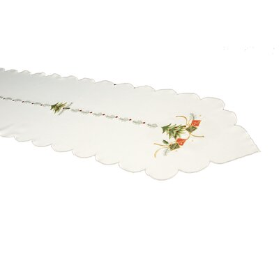 House Additions Green Tree and Gift Embroidered Table Runner