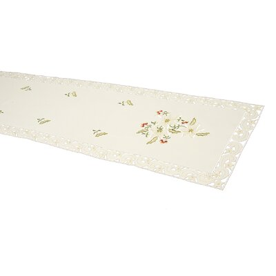 House Additions Heavenly Holly and Christmas Rose with Cutwork Runner