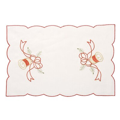House Additions Red Bells Embroidered Placemat