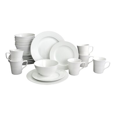House Additions Roulette Embossed 24 Piece Porcelain Dinnerware Set