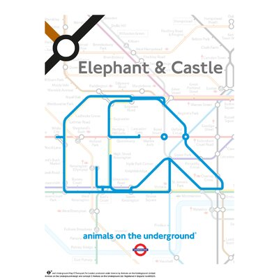 House Additions Animals on the Underground Elephant and Castle Graphic Art