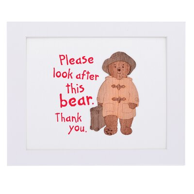 """House Additions Paddington Bear """"Please Look After This Bear, Thank You"""" Art Print Plaque"""