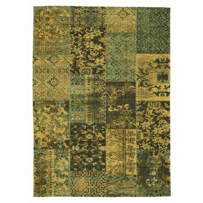 House Additions Rosmore Velour Green Area Rug