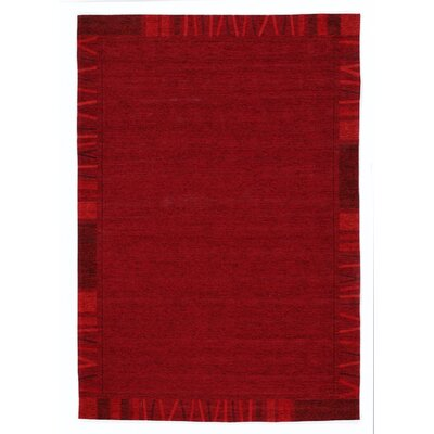 House Additions Rosmore Velour Dark Red Area Rug