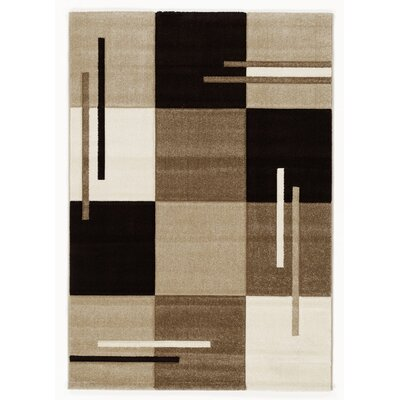 House Additions Contour Cut 3D Handmade Beige/Brown Area Rug