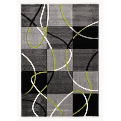 House Additions Black/Green Area Rug