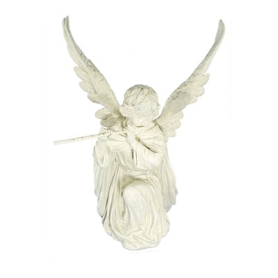 House Additions Angel with Transverse Flute and Removable Wings Decorative Figure