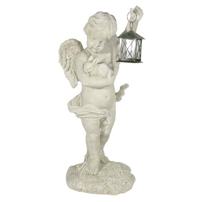 House Additions Archangel Raguel with Bunny in Arm and Lantern Decorative Figure