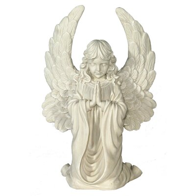 House Additions Angel with Large Wings, Kneeling and Praying Decorative Figure