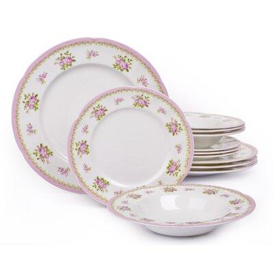 House Additions Vintage Rose 12-Piece Dinnerware Set