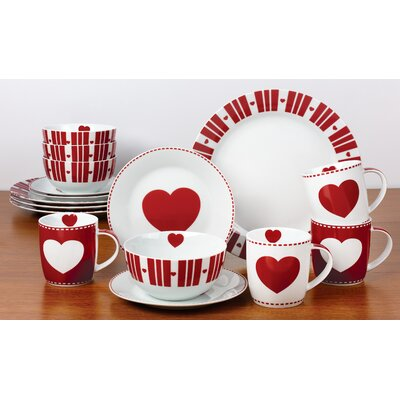 House Additions Nordic Heart 16-Piece Dinnerware Set