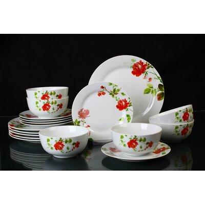 House Additions Rose Flowers 18-Piece Dinnerware Set
