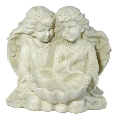 House Additions 2 Angels with Bird Bath Decorative Figure