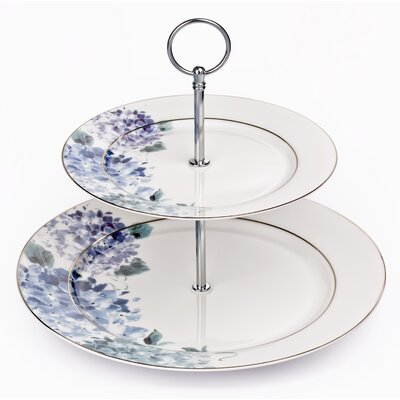 House Additions Blue Hydrangea 2-Tier Cake Stand