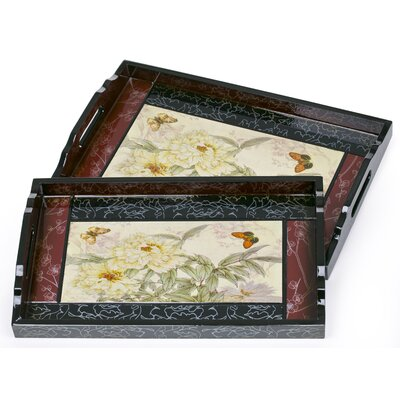 House Additions Traditional White Carnations Serving Tray Set