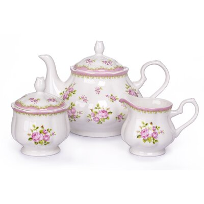 House Additions 3-Piece Vintage Rose Tea Set